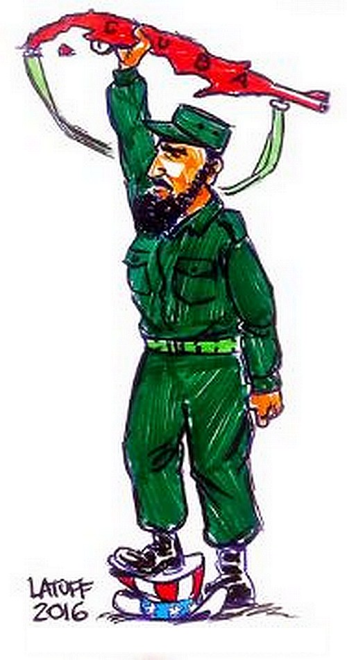 BlackCommentator.com December 01, 2016 - Issue 677: Thanks Fidel - Political Cartoon By Carlos Latuff, Rio de Janeiro Brazil