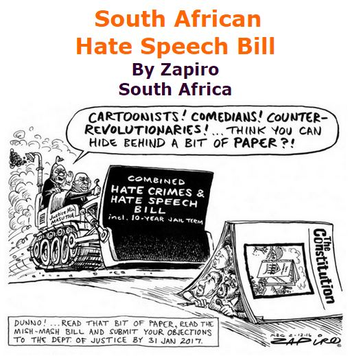 BlackCommentator.com December 08, 2016 - Issue 678: South African Hate Speech Bill - Political Cartoon By Zapiro, South Africa