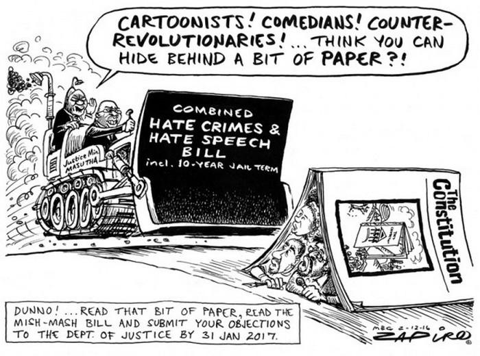 BlackCommentator.com December 08, 2016 - Issue 678: South African Hate Speech Bill - Political Cartoon By Zapiro, South Africa