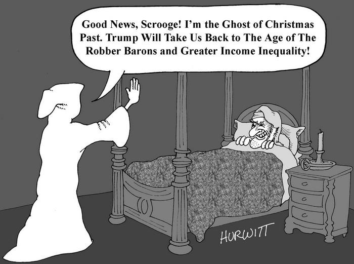 BlackCommentator.com December 15, 2016 - Issue 679: Scrooge - Political Cartoon By Mark Hurwitt, Brooklyn NY