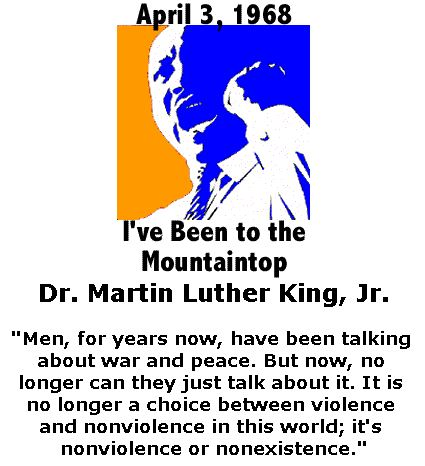 BlackCommentator.com January 12, 2017 - Issue 681: April 3, 1968 - Dr. Martin Luther King, Jr. - I've Been to the Mountaintop