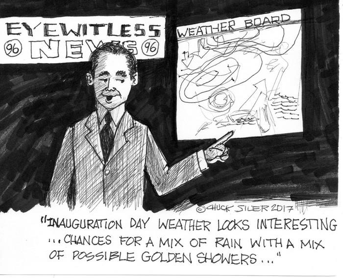 BlackCommentator.com January 19, 2017 - Issue 682: Innaugration Day Weather - Political Cartoon By Chuck Siler, Carrollton TX