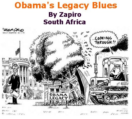 BlackCommentator.com January 19, 2017 - Issue 682: Obama's Legacy Blue - Political Cartoon By Zapiro, South Africa