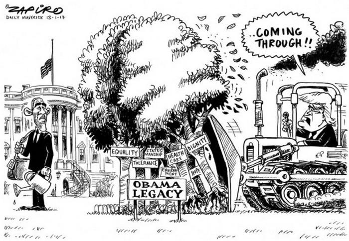 BlackCommentator.com January 19, 2017 - Issue 682: Obama's Legacy Blue - Political Cartoon By Zapiro, South Africa