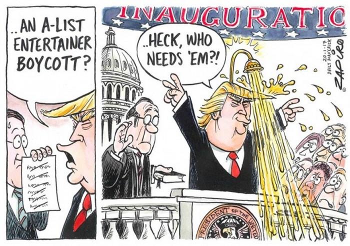 BlackCommentator.com January 26, 2017 - Issue 683: Trump Inauguration - Political Cartoon By Zapiro, South Africa