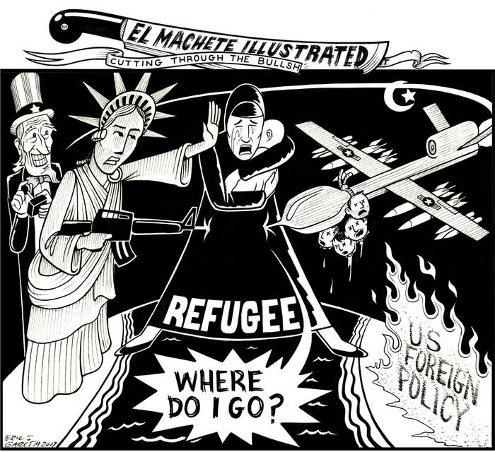 BlackCommentator.com February 02, 2017 - Issue 684: Where Do I Go - Political Cartoon By Eric Garcia, Chicago IL
