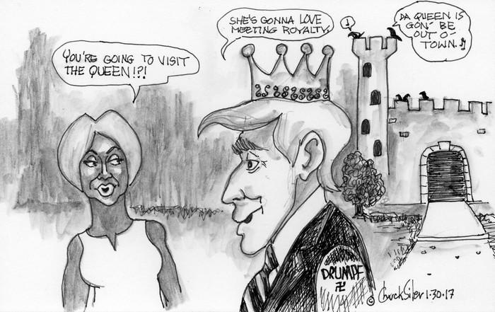 BlackCommentator.com February 09, 2017 - Issue 685: Royal Trump - Political Cartoon By Chuck Siler, Carrollton TX