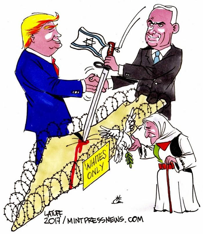 BlackCommentator.com February 23, 2017 - Issue 687: Trump and Netanyahu Making Apartheid in Palestine Offical - Political Cartoon By Carlos Latuff, Rio de Janeiro Brazil