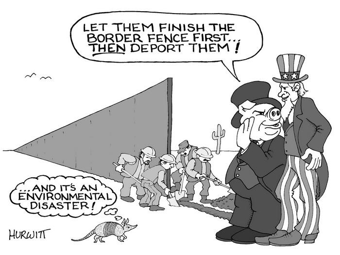 BlackCommentator.com March 02, 2017 - Issue 688: Border Wall - Political Cartoon By Mark Hurwitt, Brooklyn NY
