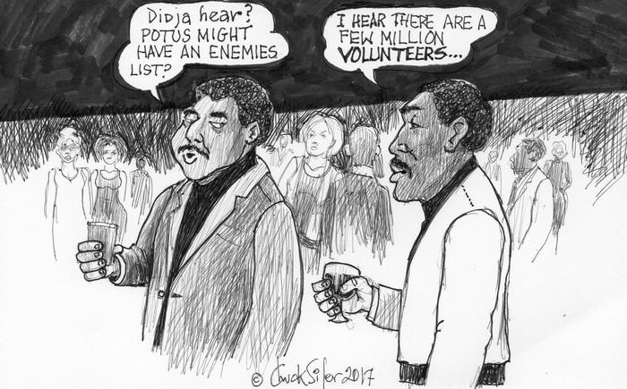 BlackCommentator.com March 02, 2017 - Issue 688: TPOTUS Enemies List - Political Cartoon By Chuck Siler, Carrollton TX