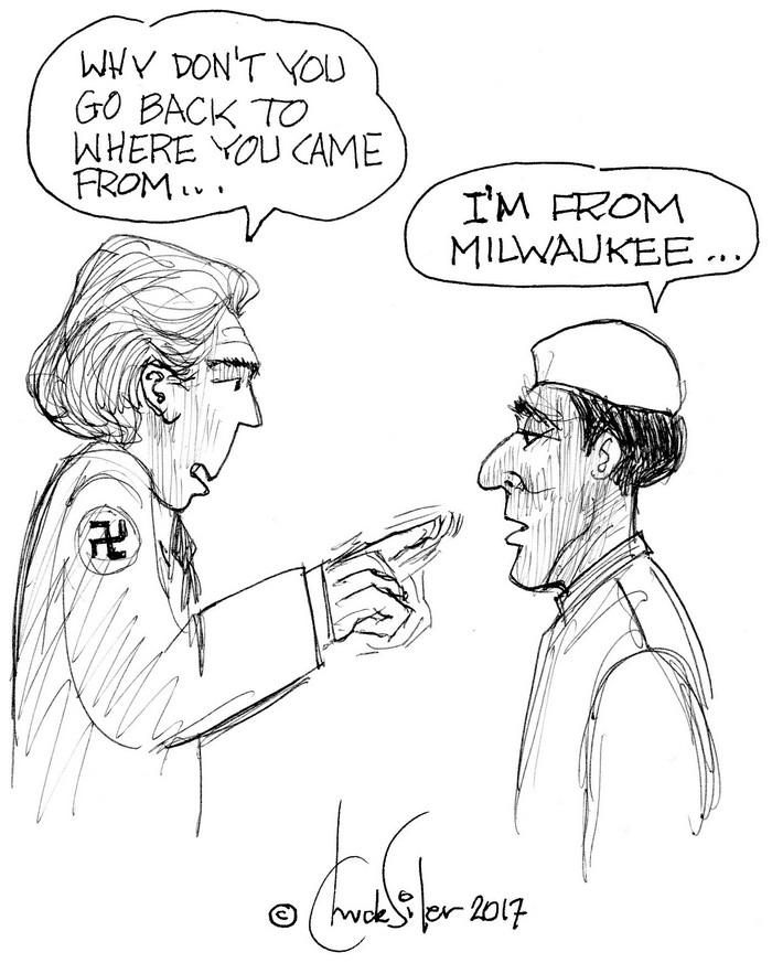 BlackCommentator.com March 09, 2017 - Issue 689: Milwaukee Muslim - Political Cartoon By Chuck Siler, Carrollton TX