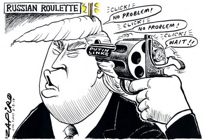 BlackCommentator.com March 09, 2017 - Issue 689: Russian Roulette - Political Cartoon By Zapiro, South Africa