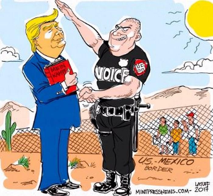 BlackCommentator.com March 09, 2017 - Issue 689: Trump VOICE Program - Political Cartoon By Carlos Latuff, Rio de Janeiro Brazil