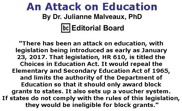 BlackCommentator.com March 16, 2017 - Issue 690: An Attack on Education By Dr. Julianne Malveaux, PhD, BC Editorial Board