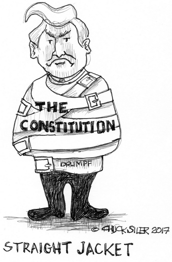 BlackCommentator.com March 16, 2017 - Issue 690: Trump Straight Jacket - Political Cartoon By Chuck Siler, Carrollton TX