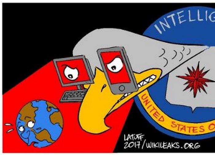 BlackCommentator.com March 30, 2017 - Issue 692: CIA spying on YOU! - Political Cartoon By Carlos Latuff, Rio de Janeiro Brazil