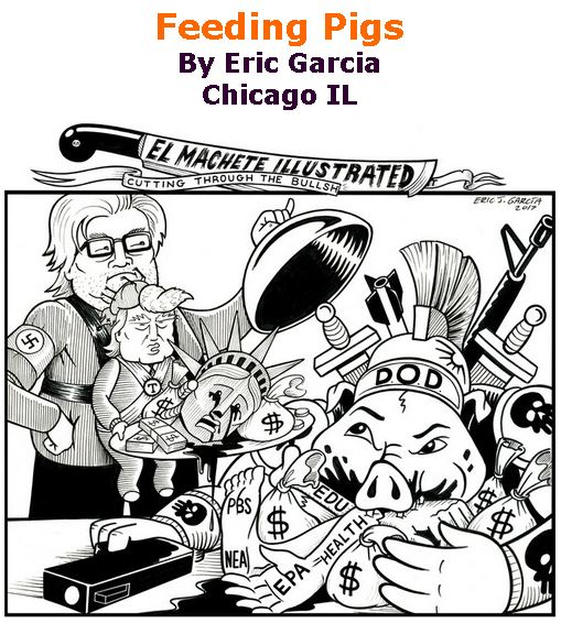 BlackCommentator.com March 30, 2017 - Issue 692: Pigs Feeding Pigs - Political Cartoon By Eric Garcia, Chicago IL