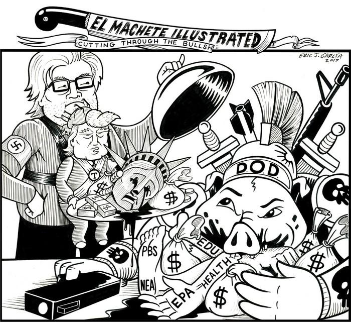 BlackCommentator.com March 30, 2017 - Issue 692: Pigs Feeding Pigs - Political Cartoon By Eric Garcia, Chicago IL