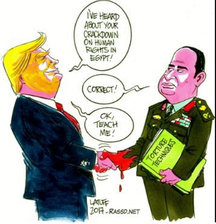 BlackCommentator.com April 06, 2017 - Issue 693: Trump Gets Human Rights Lesson from Egypt - Political Cartoon By Carlos Latuff, Rio de Janeiro Brazil