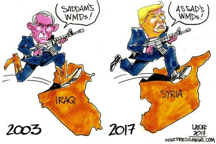 BlackCommentator.com April 13, 2017 - Issue 694: Syria Strikes - Political Cartoon By Carlos Latuff, Rio de Janeiro Brazil