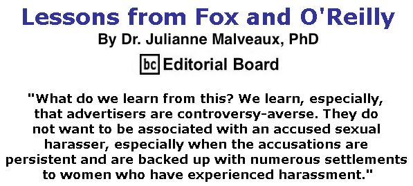 BlackCommentator.com April 27, 2017 - Issue 696: Lessons from Fox and O'Reilly By Dr. Julianne Malveaux, PhD, BC Editorial Board