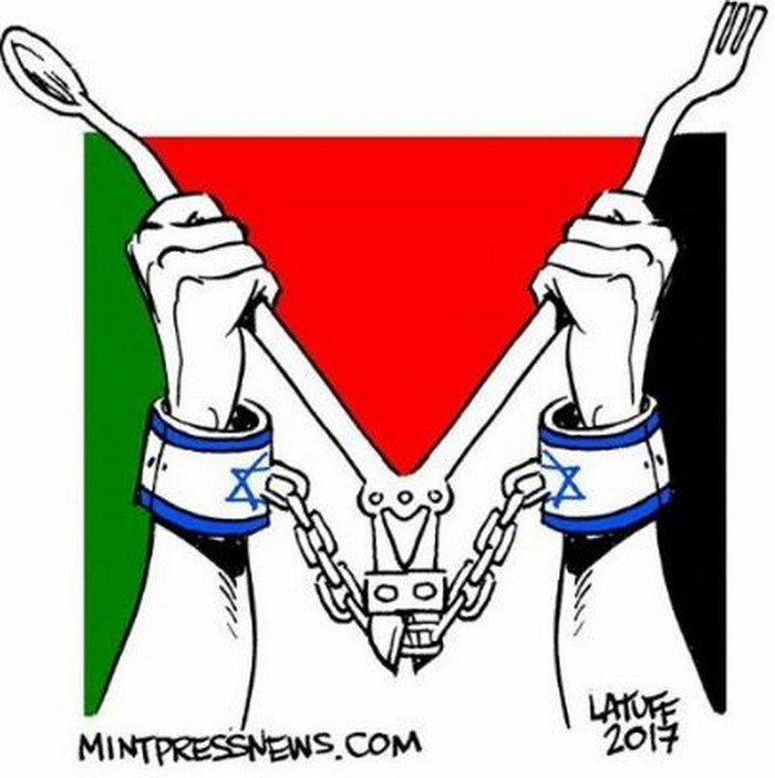 BlackCommentator.com May 18, 2017 - Issue 699: Palestinian Hunger Strikers - Political Cartoon By Carlos Latuff, Rio de Janeiro Brazil