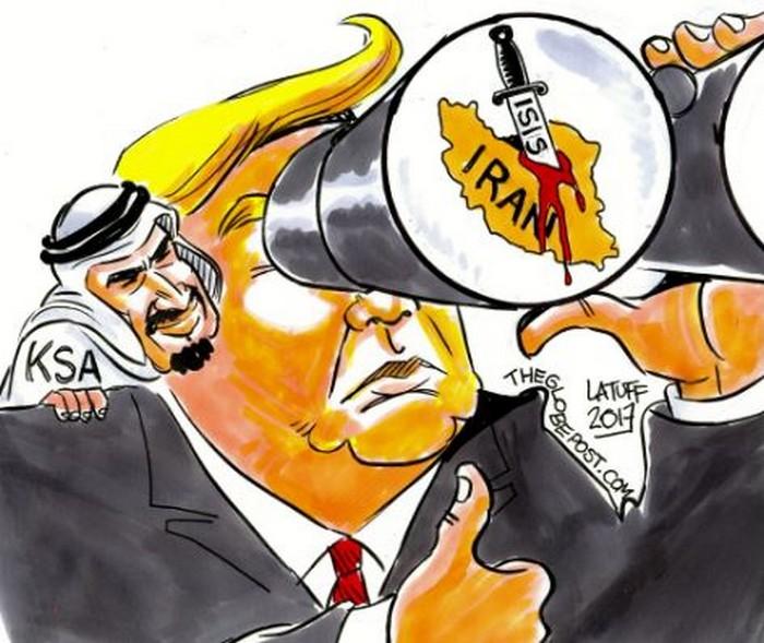 BlackCommentator.com June 15, 2017 - Issue 703: Trump, Saudi Arabia, Aiming at Iran - Political Cartoon By Carlos Latuff, Rio de Janeiro Brazil