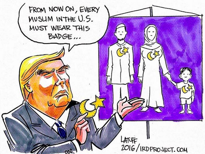 BlackCommentator.com June 22, 2017 - Issue 704: Muslim Badge - Political Cartoon By Carlos Latuff, Rio de Janeiro Brazil
