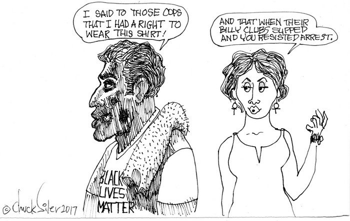 BlackCommentator.com June 29, 2017 - Issue 705: Tee Shirt Rights - Political Cartoon By Chuck Siler, Carrollton TX