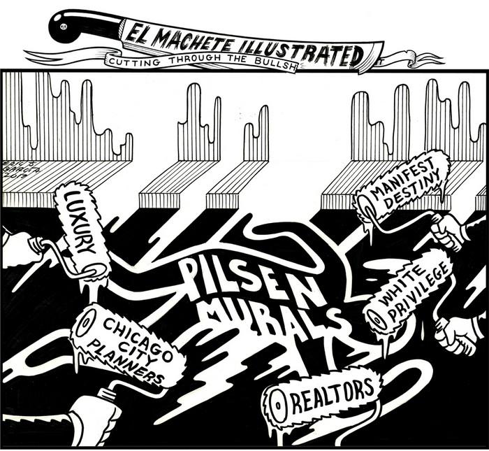 BlackCommentator.com July 06, 2017 - Issue 706: Ray Patlan Chicago Casa Aztlan Murals - Political Cartoon By Eric Garcia, Chicago IL