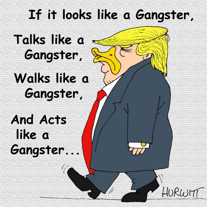 BlackCommentator.com July 27, 2017 - Issue 709: The Gangster In-Chief - Political Cartoon By Mark Hurwitt, Brooklyn NY