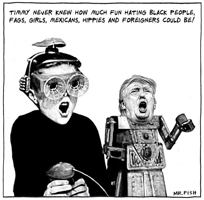 BlackCommentator.com July 27, 2017 - Issue 709: The Greatest Virtual Reality Show on Earth! - Political Cartoon By Mr. Fish, Philadelphia PA