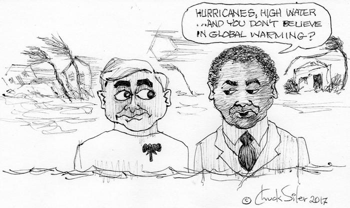 BlackCommentator.com September 21, 2017 - Issue 712: Global Warming - Political Cartoon By Chuck Siler, Carrollton TX