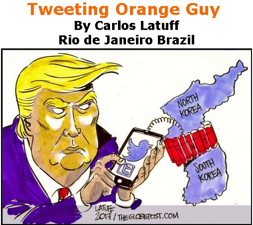 BlackCommentator.com September 28, 2017 - Issue 713: Tweeting Orange Guy - Political Cartoon By Carlos Latuff, Rio de Janeiro Brazil
