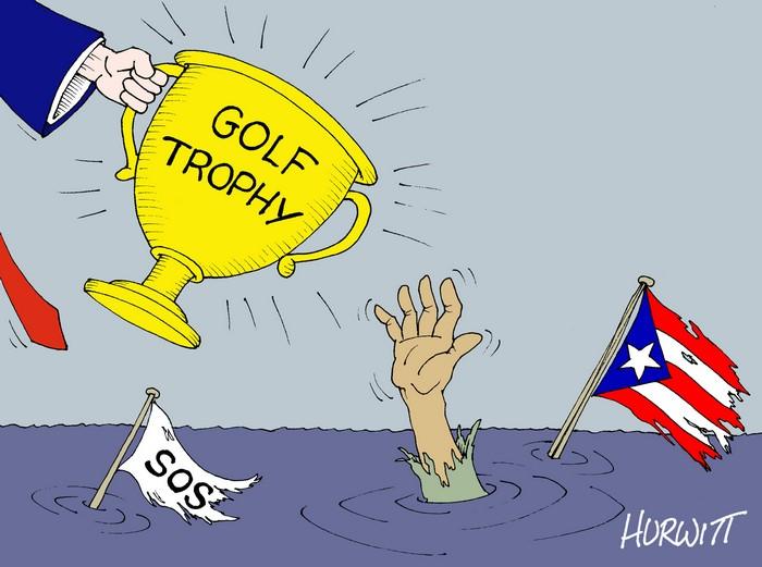 BlackCommentator.com October 05, 2017 - Issue 714: Help for Puerto Rico! - Political Cartoon By Mark Hurwitt, Brooklyn NY