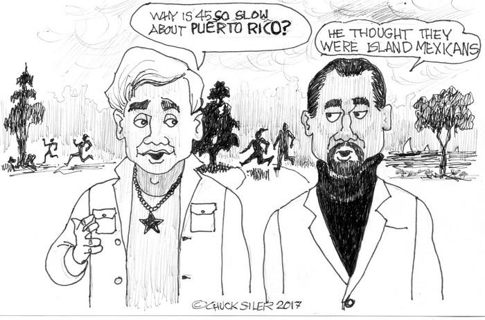 BlackCommentator.com October 05, 2017 - Issue 714: Island Mexicans - Political Cartoon By Chuck Siler, Carrollton TX