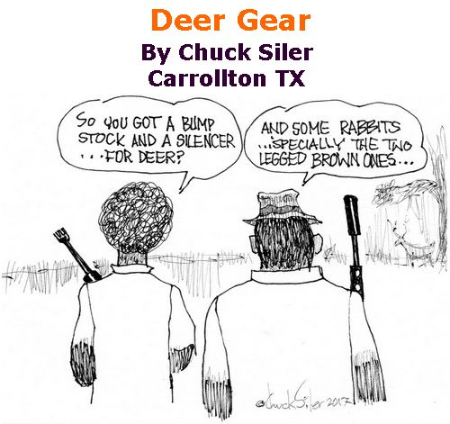 BlackCommentator.com October 12, 2017 - Issue 715: Deer Gear - Political Cartoon By Chuck Siler, Carrollton TX
