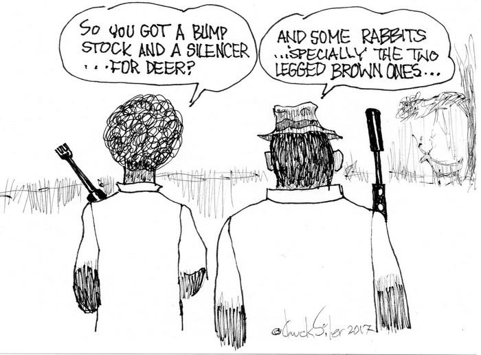 BlackCommentator.com October 12, 2017 - Issue 715: Deer Gear - Political Cartoon By Chuck Siler, Carrollton TX