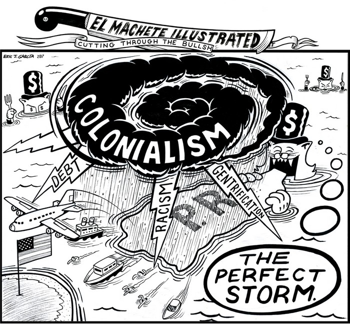 BlackCommentator.com November 02, 2017 - Issue 716: Perfect Storm - Political Cartoon By Eric Garcia, Chicago IL