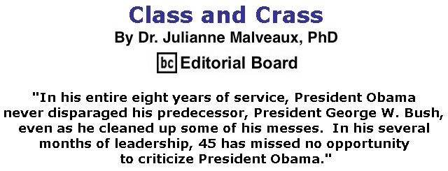 BlackCommentator.com November 09, 2017 - Issue 717: Class and Crass By Dr. Julianne Malveaux, PhD, BC Editorial Board