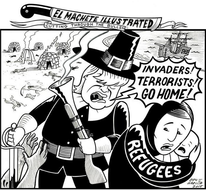 BlackCommentator.com November 23, 2017 - Issue 719: Happy Thanksgiving - Political Cartoon By Eric Garcia, Chicago IL