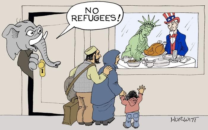 BlackCommentator.com November 23, 2017 - Issue 719: Thanksgiving Refugees - Political Cartoon By Mark Hurwitt, Brooklyn NY