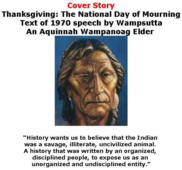BlackCommentator.com - November 23, 2017 - Issue 719 Cover Story: Thanksgiving: The National Day of Mourning - Text of 1970 speech by Wampsutta, An Aquinnah Wampanoag Elder