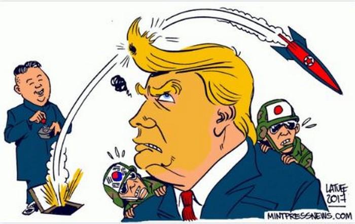 BlackCommentator.com December 07, 2017 - Issue 721: North Korea - Political Cartoon By Carlos Latuff, Rio de Janeiro Brazil