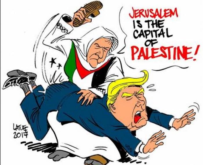 BlackCommentator.com December 14, 2017 - Issue 722: Capital of Palestine - Political Cartoon By Carlos Latuff, Rio de Janeiro Brazil