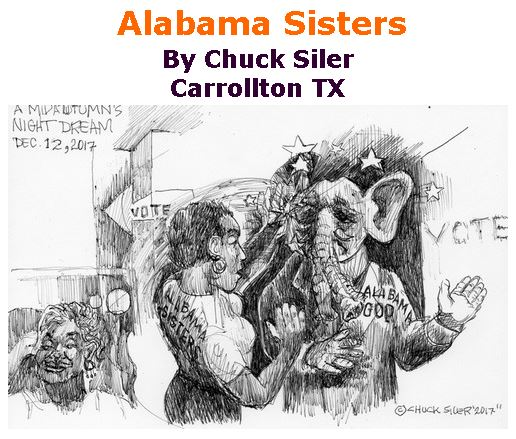 BlackCommentator.com December 21, 2017 - Issue 723: Alabama Sisters - Political Cartoon By Chuck Siler, Carrollton TX