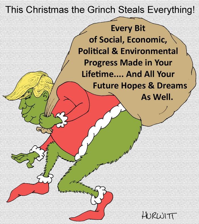 BlackCommentator.com December 21, 2017 - Issue 723: Christmas Grinch 2017 - Political Cartoon By Mark Hurwitt, Brooklyn NY