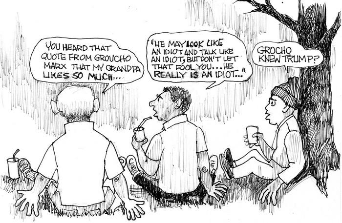 BlackCommentator.com January 11, 2018 - Issue 724: Groucho - 45 - Political Cartoon By Chuck Siler, Carrollton TX
