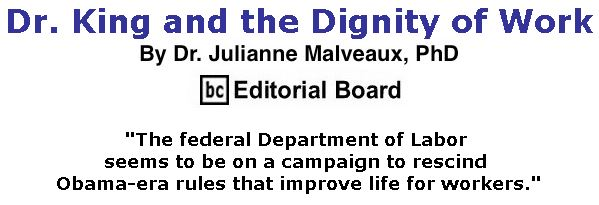 BlackCommentator.com January 18, 2018 - Issue 725: Dr. King and the Dignity of Work By Dr. Julianne Malveaux, PhD, BC Editorial Board