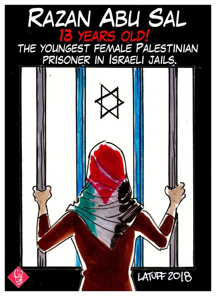 BlackCommentator.com January 25, 2018 - Issue 726: Palestinian Child Prisoner - Political Cartoon By Carlos Latuff, Rio de Janeiro Brazil